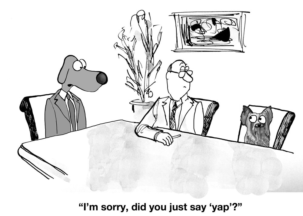 Cartoon of meeting between manager and two dogs